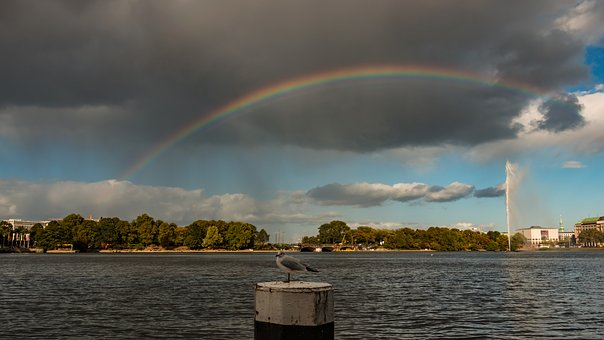 Rainbow, Sky, Hamburg, Weather, Jungfernstieg, Nature
