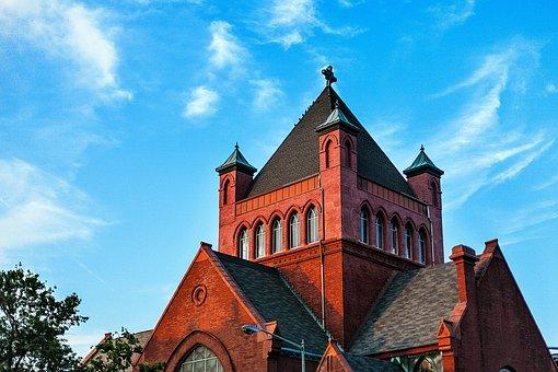 Church, Blue Sky, Sunny, Brick House, Red House