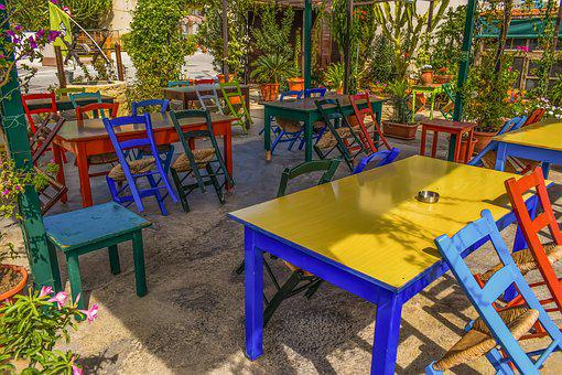 Chairs, Tables, Colors, Tavern, Anafotida, Cyprus