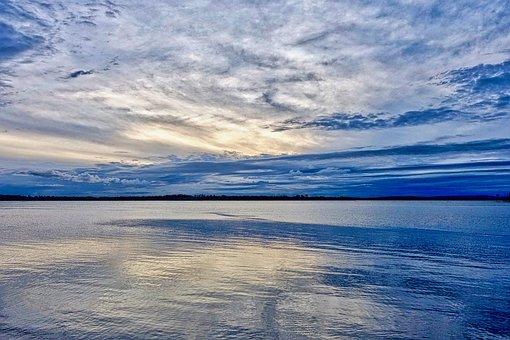 Horizon, Sky, Sea, Blue, Reflection, Tranquility