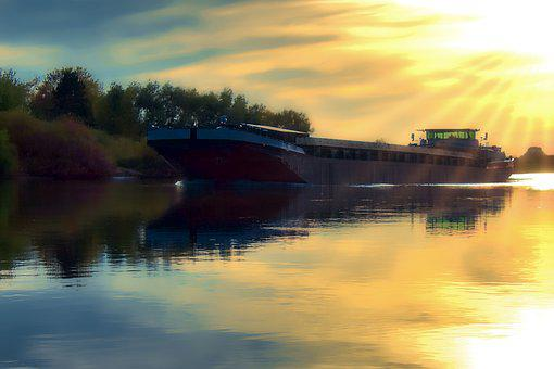 Barge, River, Water, Transport, Shipping, Freighter