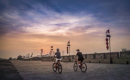 China, Xian, Xi'an, Sunset, Wall, City Wall, Bicycle