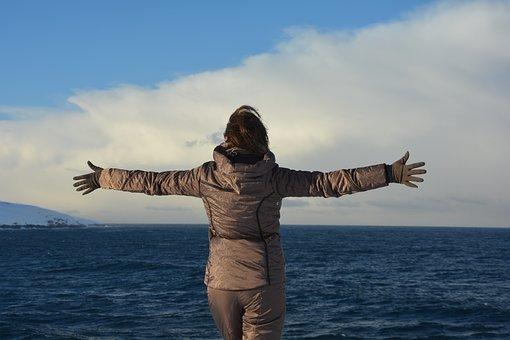 Teriberka, Ocean, Winter, Travel, Happiness, Girl