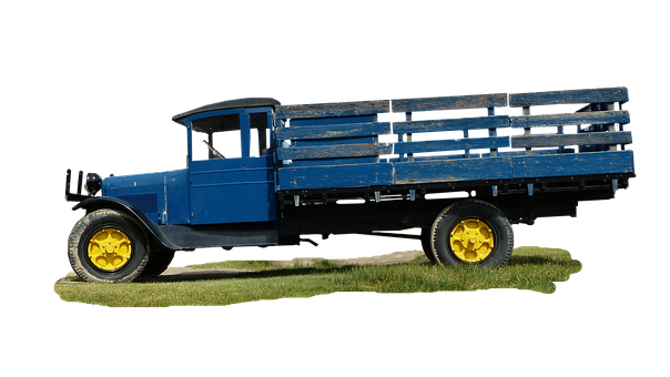 Truck, American, Former, Old, Blue, Antique, Museum