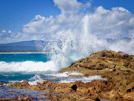 Splash, Wave, Beach, Surf, Whitewater, Breakers