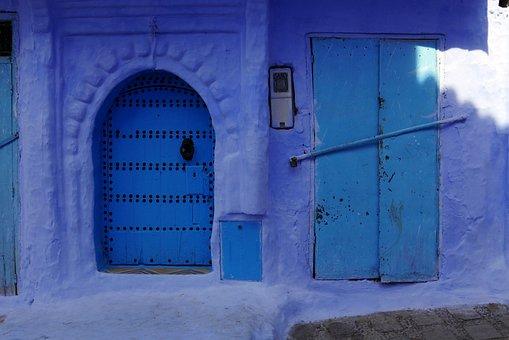 Morocco, Blue, Door, Village, House, Architecture