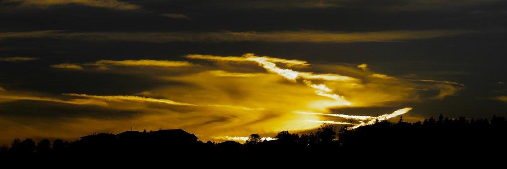 Nature, Sky, Sunset, Clouds, Evening, Night