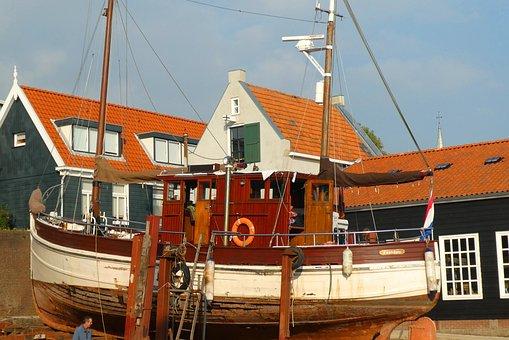 Shipyard, Urk, Fisheries, Sea, Boat, Village