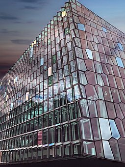 Iceland, Opera House, Reflecting, Glass, Architecture