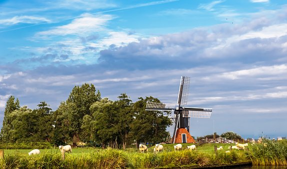 Wind Mill, Landscape, Netherlands, Friesland, Heaven