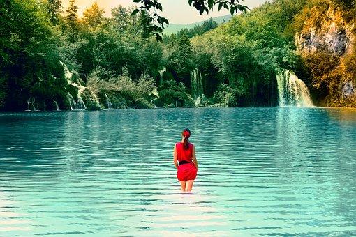 Lake, Woman, Nature, Landscape, Water, Person