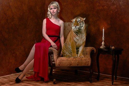 Woman, Tiger, Room, Antique, Look, Portrait, Mystical