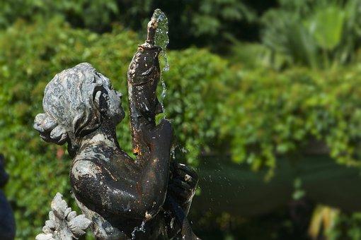 Source, Sculpture, Metal, Water, Figure, Monument, Park
