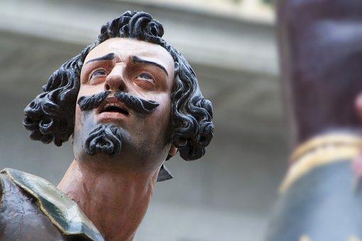 Sculpture, Polychrome Wood, Figure, Portrait