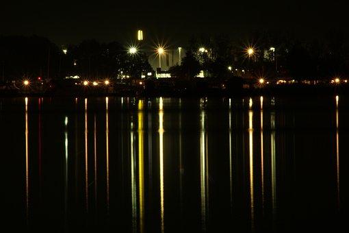 Night, Water, Light, Reflect, Reflection, Dark