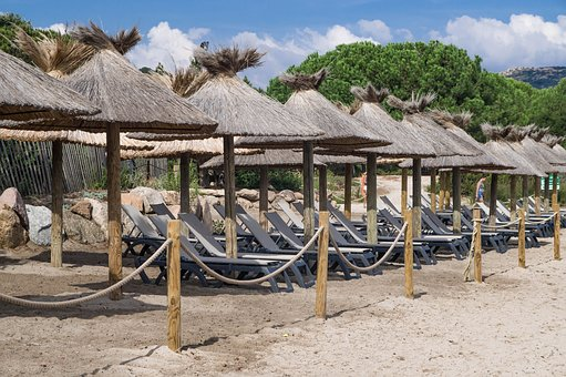 Beach, Parasols, Holiday, Sun Loungers, Relaxation