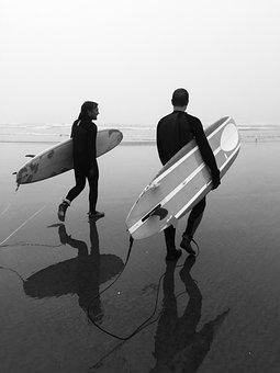 Surfing, Oregon, Surf, Fog, Wetsuit, Sand, Board