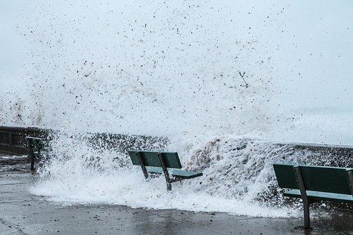 Storm, Storm Surge, Water, Ocean, Debris, Seaweed