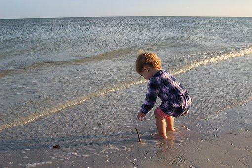 Beach, Child, Wave, Sunset, Summer, Happiness, Kid