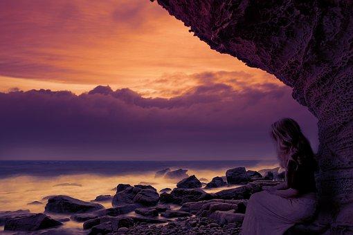 Thinking, Sunset, Beach, People, Sky, Nature, Girl