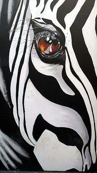 Painting, Graffiti, Zebra, Animal, Colorful, Facade