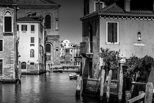 Black And White, Venice, Italy, Water, Architecture