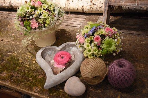 Flowers, Arrangement, Plant, Love, Heart, Bouquet