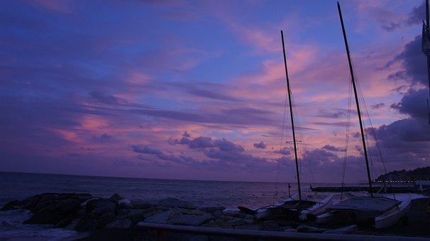 Sunset, Boats, Sailboats, Sails, Clouds, Sky, Liguria