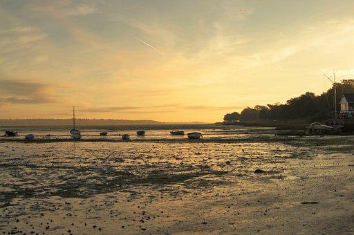 Boats, Estuary, Low Tide, Beach, Marine, Water, Coastal