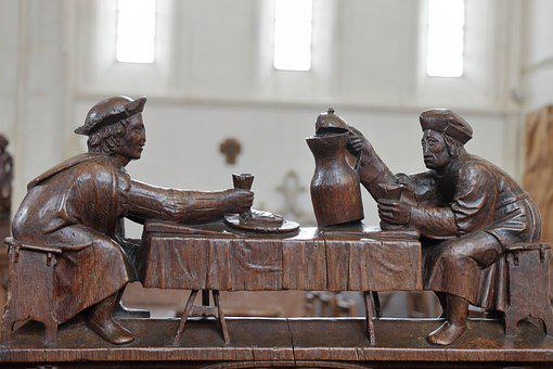 Figures, Wood, Carving, Choir Stalls, Church, Zecher