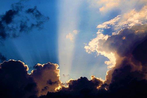 Sky, Clouds, Nature, Solar, Light, Beam, Open, Cloud