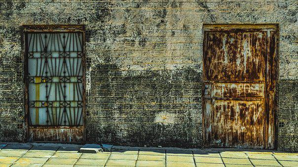 Doors, Metallic, Wall, Rusty, Aged, Weathered, Decay