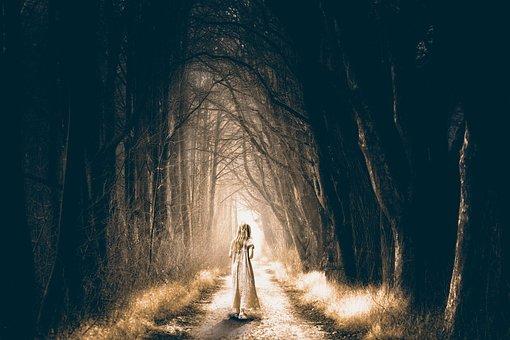 Forest, Spooky, Dark, Girl, Walking, Nightmare, Scary