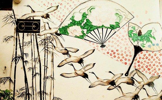 Graffiti, Ducks, Geese, Facade, Painting, Eastern, Fans