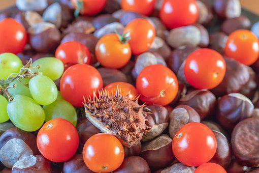 Tomatoes, Chestnuts, Grapes, Assortment, Fruits