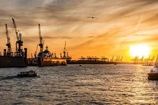 Hamburg, Port, Evening, Elbe, Water, Shipping, Boat