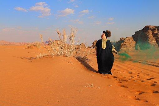 Desert, Lady, Girl, Green, Smoke, Arabic, Jordan