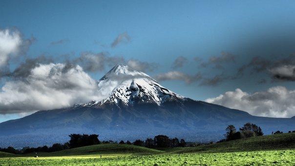 New Zealand Taranaki, Snow, Blue, Mountain, Landscape