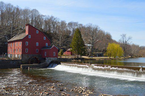Mill, Red Mill, Building, Landmark, Architecture