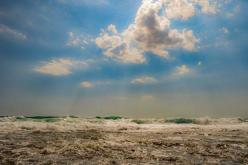 Sea, Waves, Sky, Clouds, Nature, Seascape, Scenery