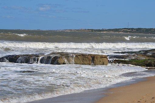 Sea, Atlantic, Uruguay, Costa, Wave, Beach, Sky, Ocean