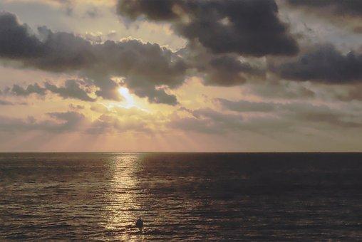 Cloud, Rays, Sun, Evening, Cloudy, Sea, Horizon