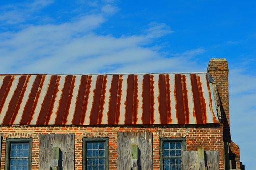 Rusty, Roof, Old, Metal, Rustic, Chimney, Shack, Wood