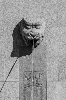 Chinese, Fountain, Dragon, Drakenhoofd, Stone, Oriental
