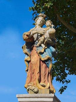 Statue, Stone, Colorful, Stone Figure, Female