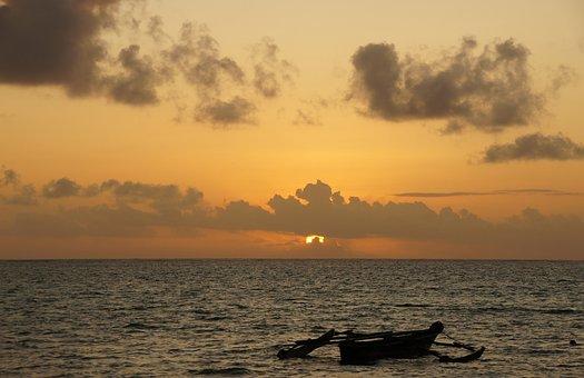 Sunrise, Zanzibar, Sea, Africa, Tanzania