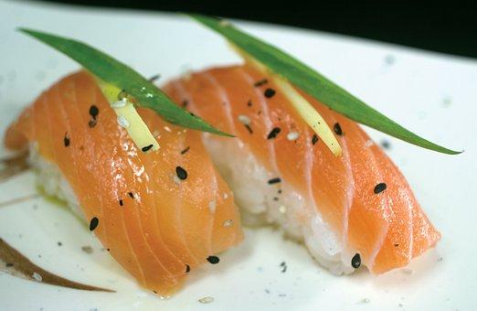 Niguiri, Salmon, Japanese Food, Oriental, Sushi