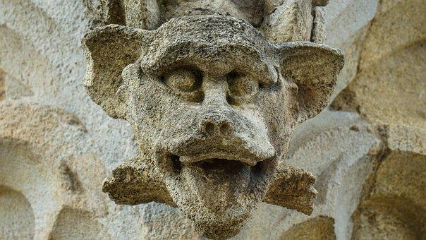 Gargoyle, Architecture, Trim, Stone, Facade