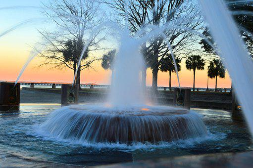 Fountain, Sunset, Landscape, Twilight, City