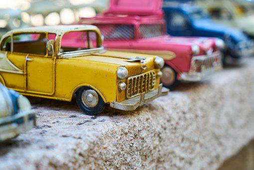 Car, Toy, Tiny, Yellow, Pink, Park, Auto, Vehicle